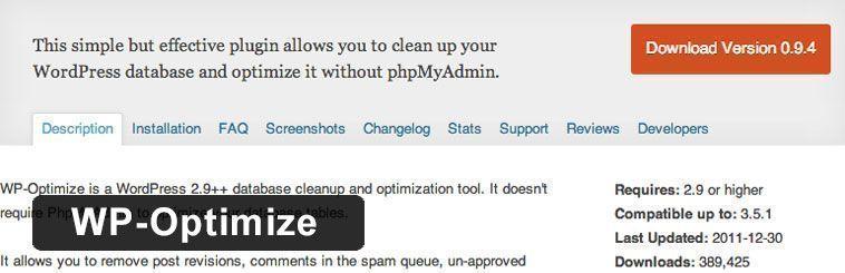 Plugin SEO de WordPress - WP-Optimize