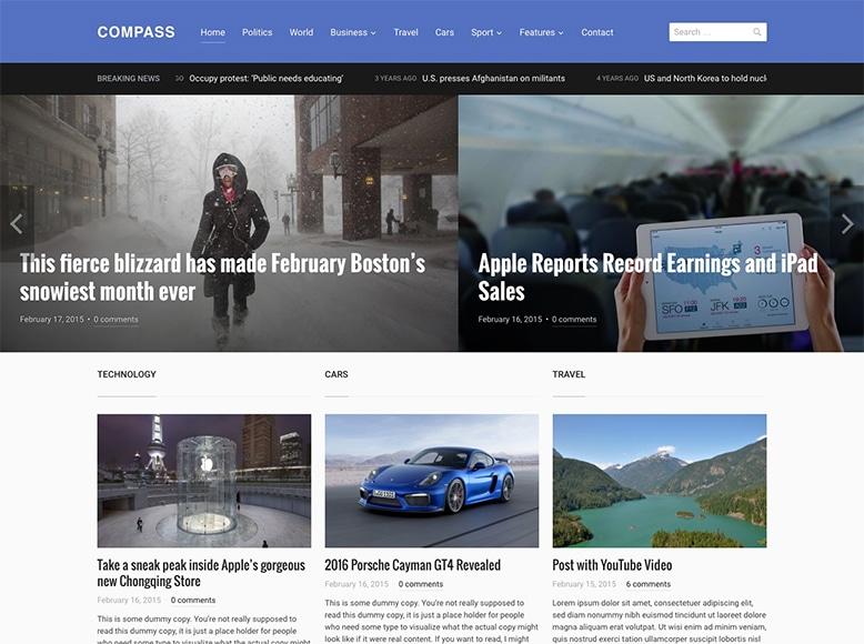 Compass - Tema WordPress para revistas digitales y revistas online modernas