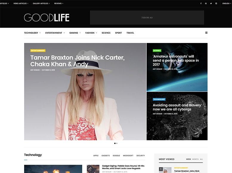 GoodLife - Tema WordPress para revistas digitales de moda, tecnología, deportes