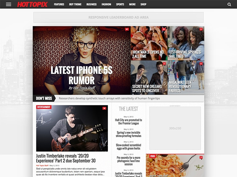 Hot Topix- Tema WordPress de revistas online modernas y minimalistas