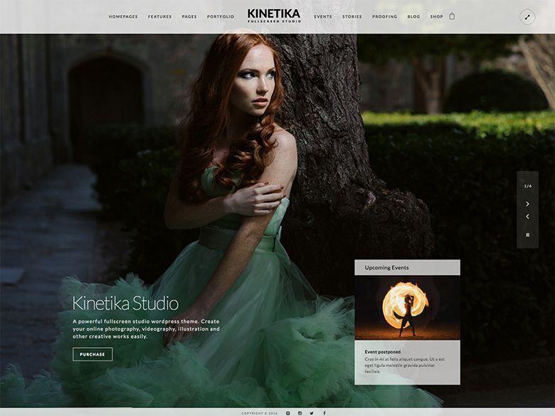 Kinetika - Plantilla WordPress bonita para portafolios de fotografía