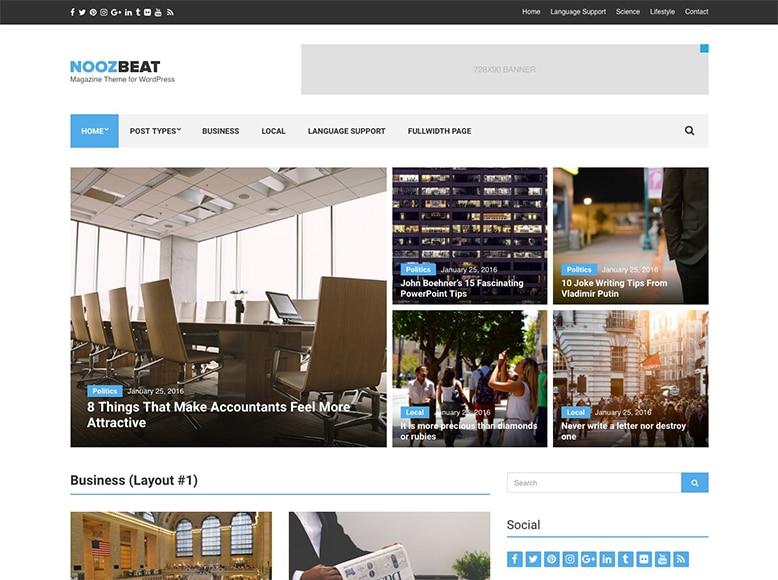 Noozbeat - Tema WordPress para revistas digitales modernas y minimalistas