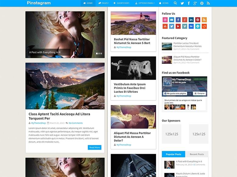 Pinstagram - Tema WordPress para revistas online y digitales