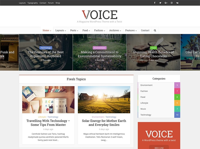 Voice - Tema WordPress para revistas online modernas y elegantes