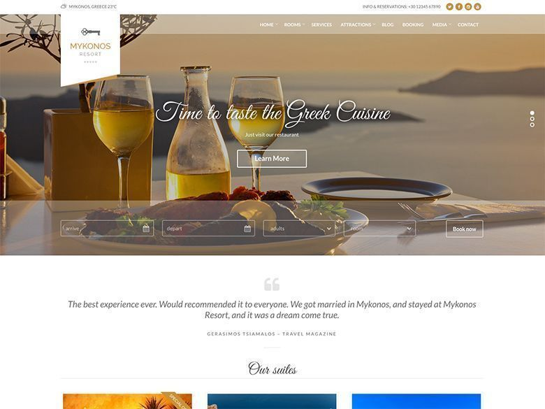 Mykonos - Plantilla WordPress para resorts de lujo