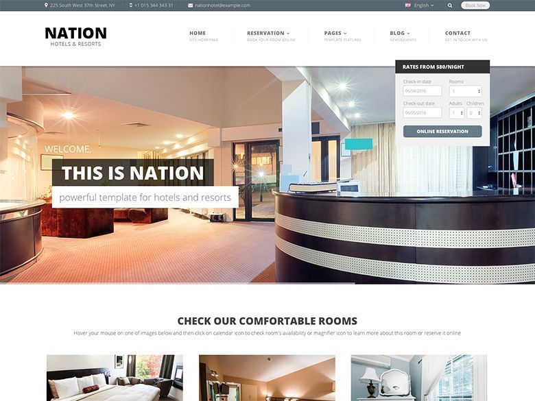 Nation Hotel - Plantilla WordPress para resorts y hoteles modernos