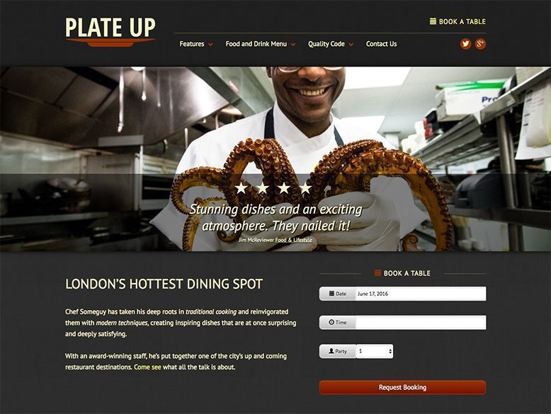 Plate Up - Tema WordPress de restaurantes