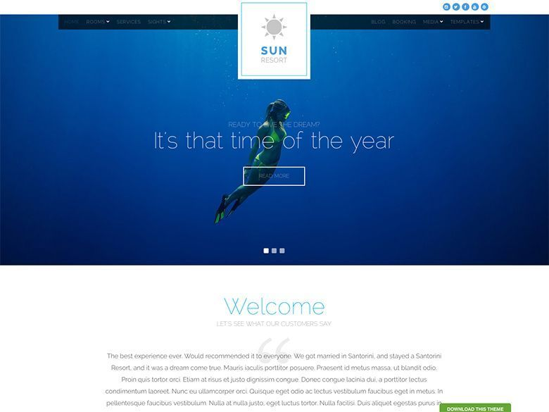 Sun Resort - Tema WordPress para hoteles con encanto