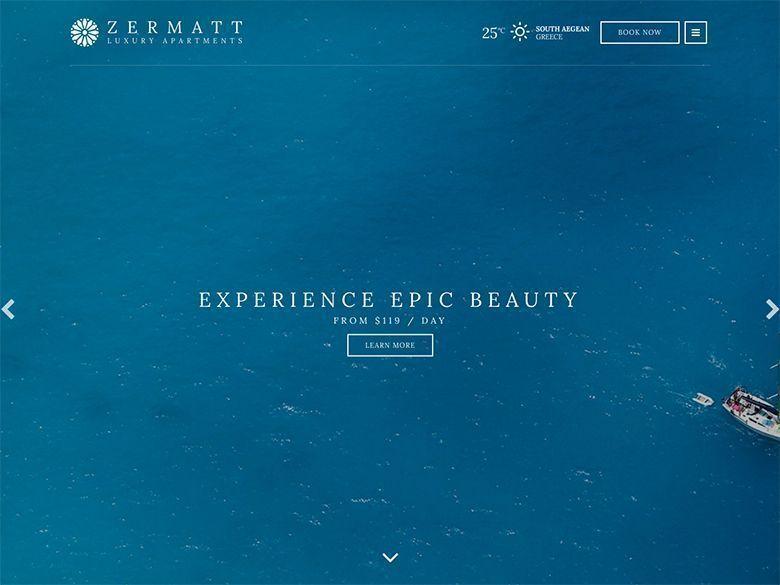 Zermatt - Plantilla WordPress para hoteles modernos y paradisíacos