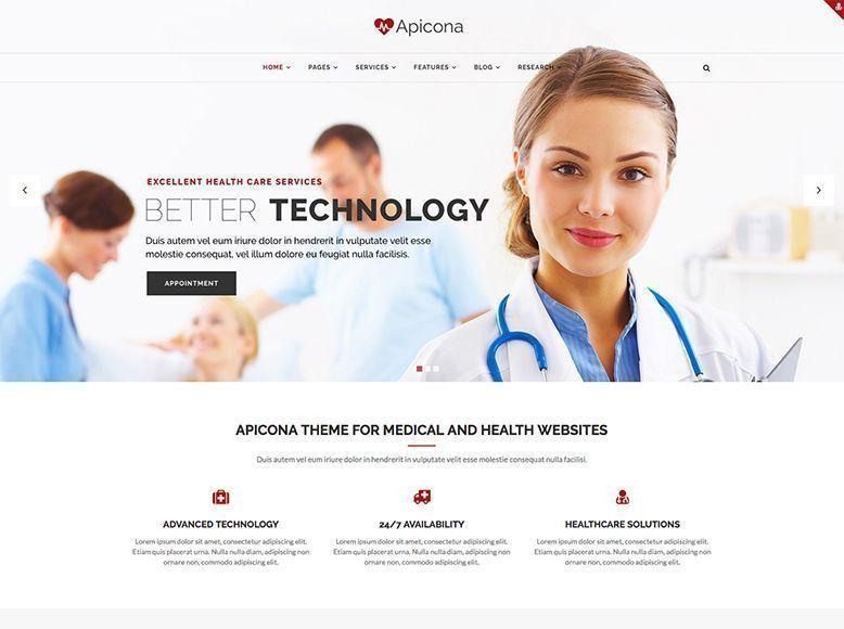 Apicona - Plantilla WordPress para centros de salud y hospitales