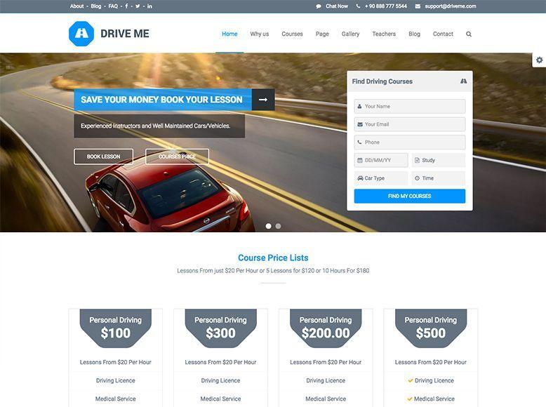 Driveme - Plantilla WordPress para autoescuelas y escuelas de conducción