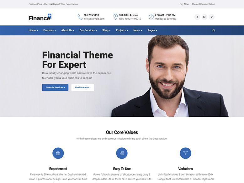 FinancePlus - Plantilla WordPress para empresas de finanzas y consultoras