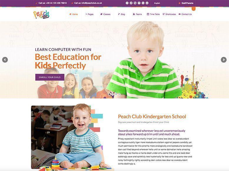 Peach Club - Tema WordPress para guarderías y centros infantiles