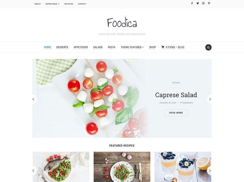 Foodica - Plantilla WordPress para revistas de cocina, recetas y postres