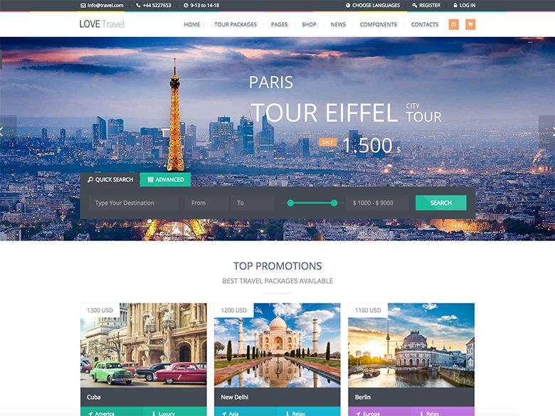 Love Travel - Tema WordPress para agencias de viajes