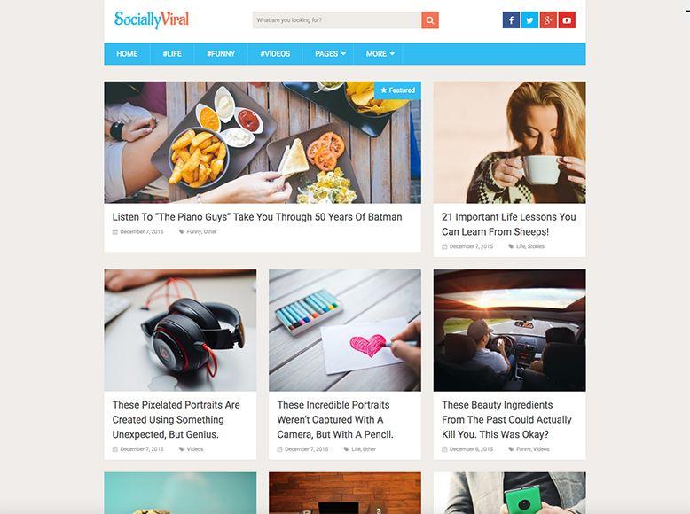 SociallyViral - Tema WordPress gratuito para revistas, blogs personales y periódicos