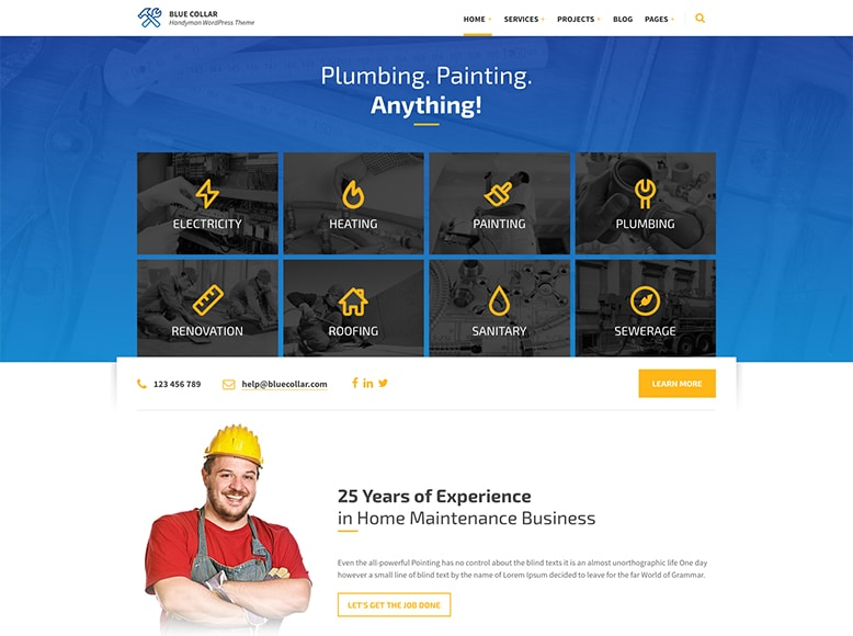 Blue Collar - Plantilla WordPress para empresas de reformas, albañiles, fontaneros, electricistas y pintores