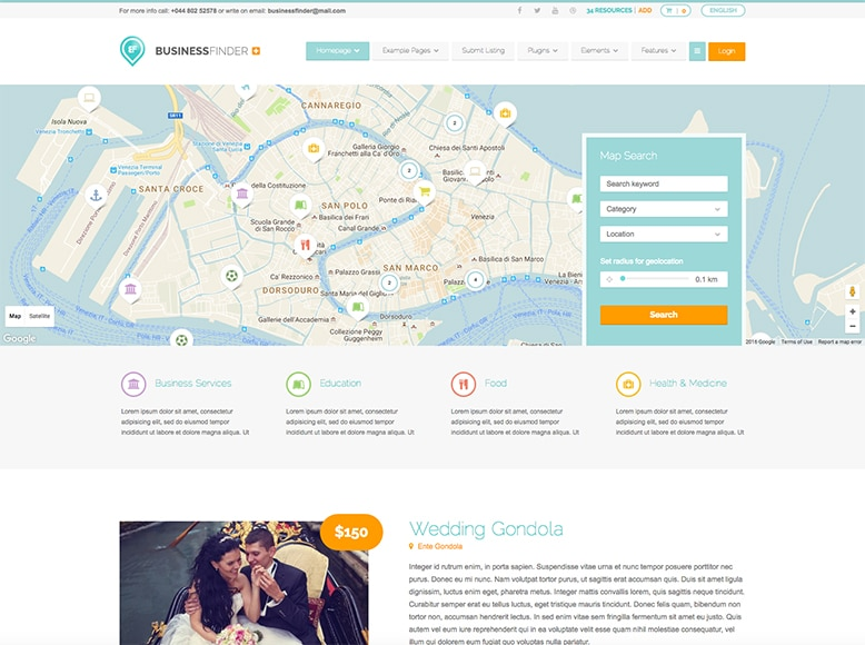 Business Finder - Plantilla WordPress para portales de directorios de empresas