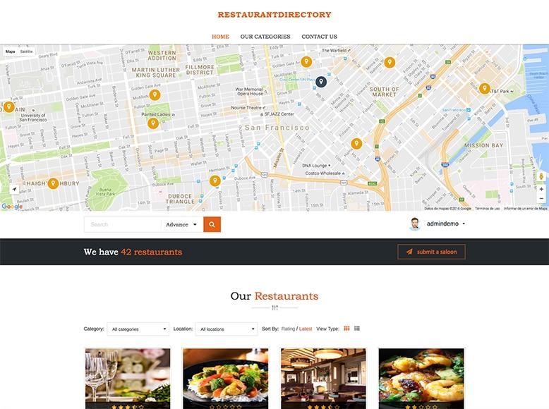 DiningEngine - Plantilla WordPress para directorios de restaurantes