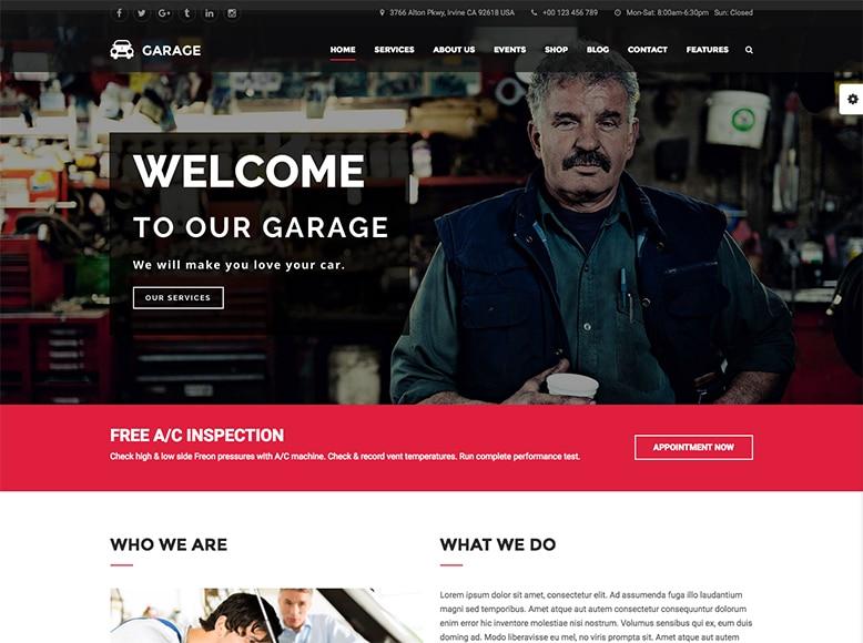 Garage - Plantilla WordPress para talleres de coches y garajes
