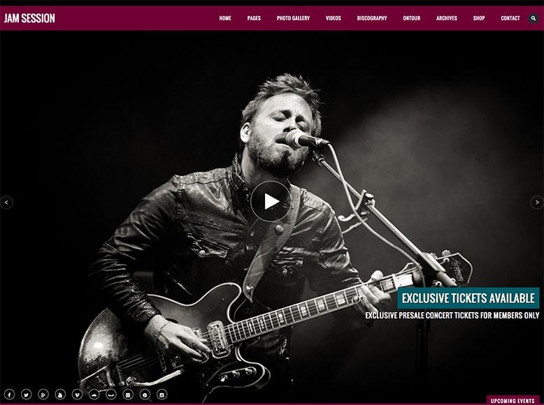 JamSession - Plantilla WordPress para artistas, cantantes, músicos, bandas de pop/rock