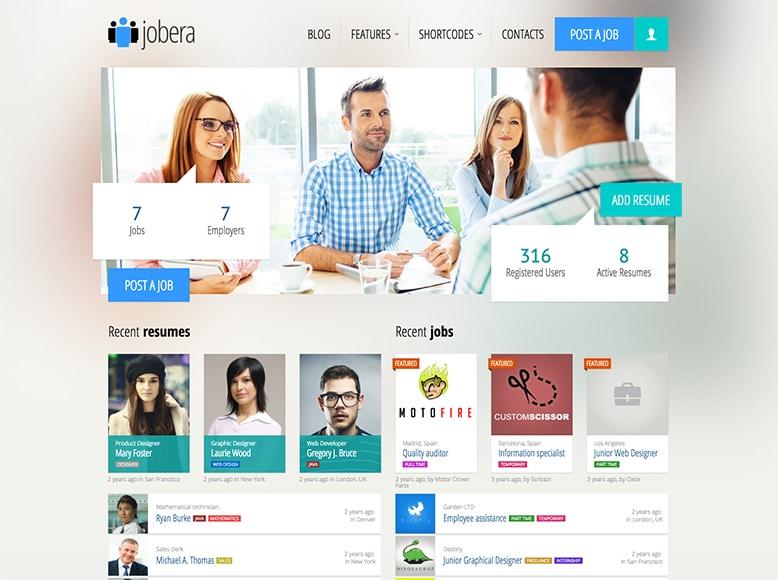 Jobera - Plantilla para listados de bolsas de trabajo con WordPress