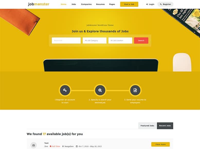 Jobmonster - Plantilla WordPress para portales de búsquedas de empleo