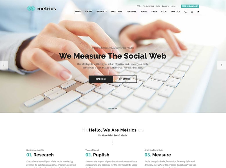 Metrics Business - Plantilla WordPress para expertos en SEO y agencias de Marketing Online