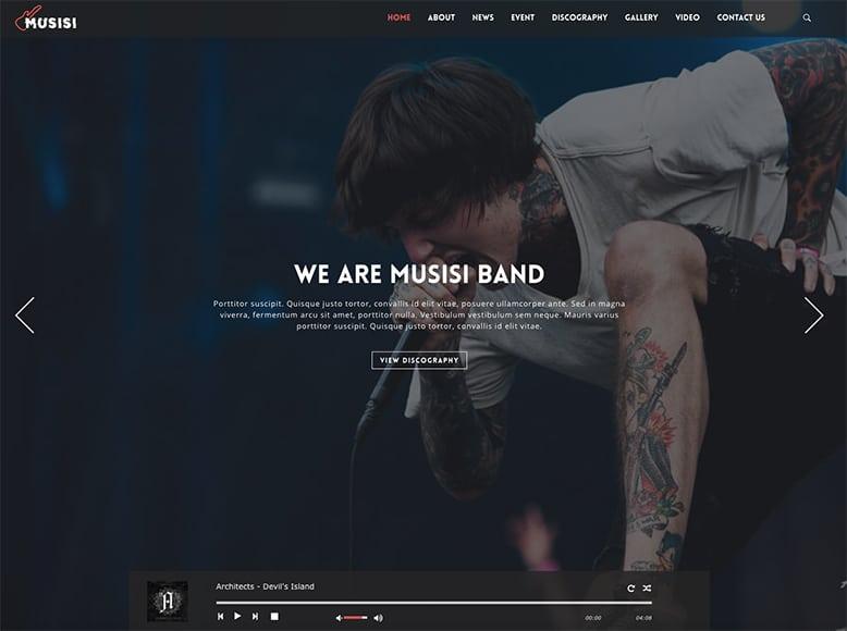 Musisi - Plantilla WordPress para bandas de música, solistas y artistas musicales