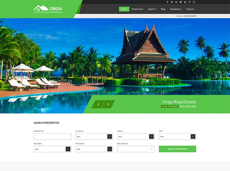 Oikia - Plantilla WordPress para agencias inmobiliarias