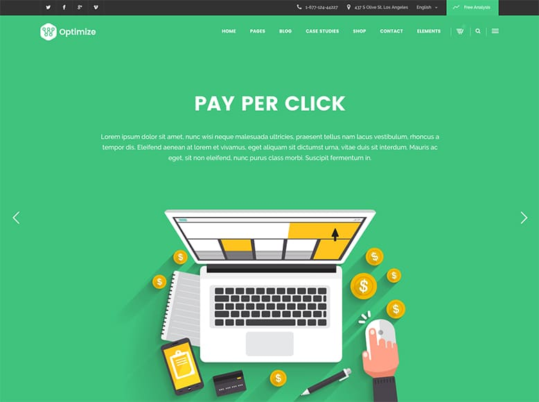 Optimize - Plantilla WordPress para agencias SEO y empresas de Marketing Digital