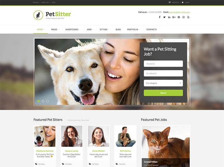 PetSitter - Plantilla para portales de empleo de cuidadores y entrenadores de mascotas