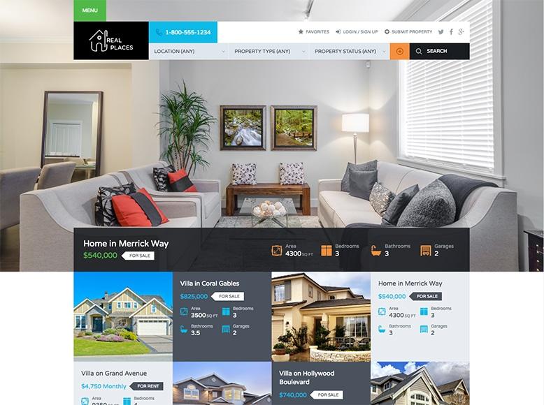 Real Places - Plantilla WordPress para Agencias Inmobiliarias y venta de propiedades