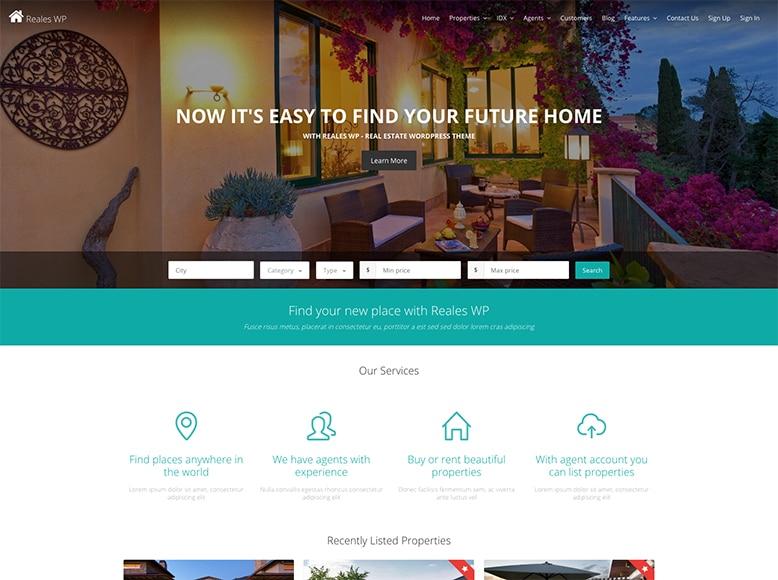 Reales WP - Plantilla WordPress para agentes inmobiliarios y agencias