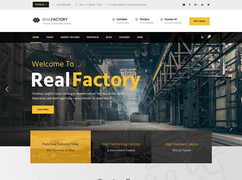 Real Factory - Plantilla WordPress para empresas de construcción y factorías