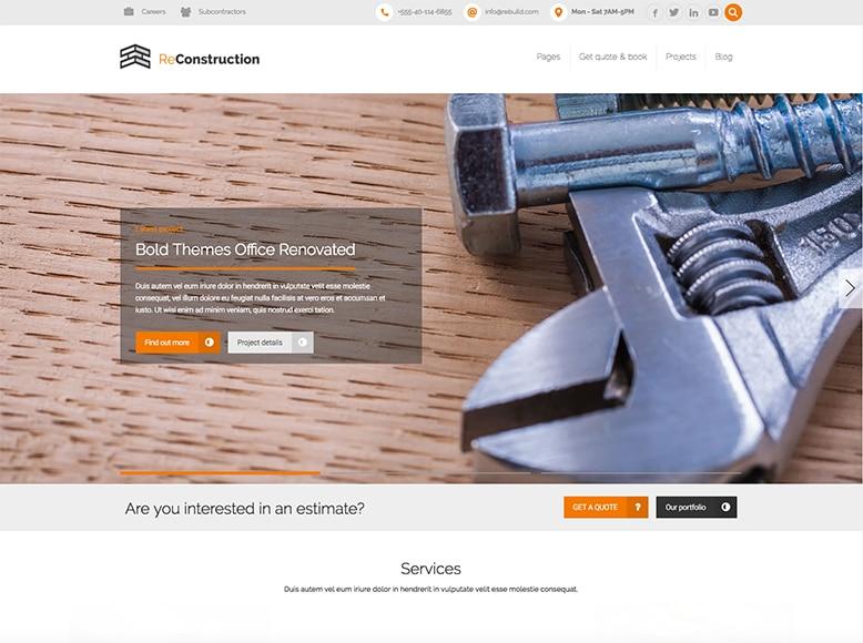 ReConstruction - Plantilla WordPress para reformas, albañiles, fontaneros, electricistas y pintores