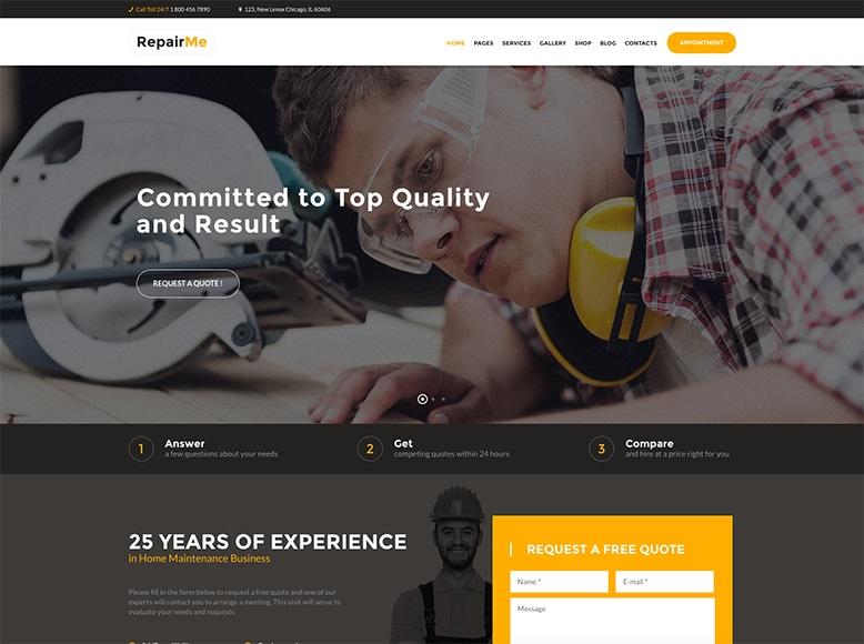 RepairMe - Plantilla WordPress para constructoras y empresas de reparaciones y reformas