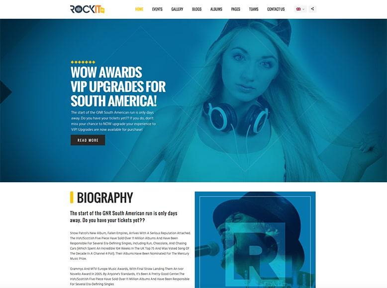 Rockit - Plantilla WordPress para grupos musicales y bandas