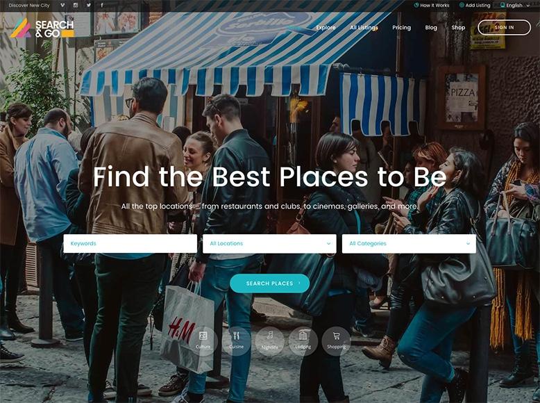 Search & Go - Plantilla WordPress para valoración de restaurantes, actuaciones y lugares en la ciudad