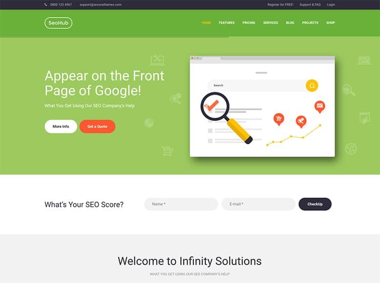 SEOHub - Plantilla WordPress para agencias de Marketing Digital y servicios SEO