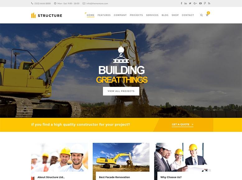 Structure - Plantilla WordPress para negocios de construcción y constructoras