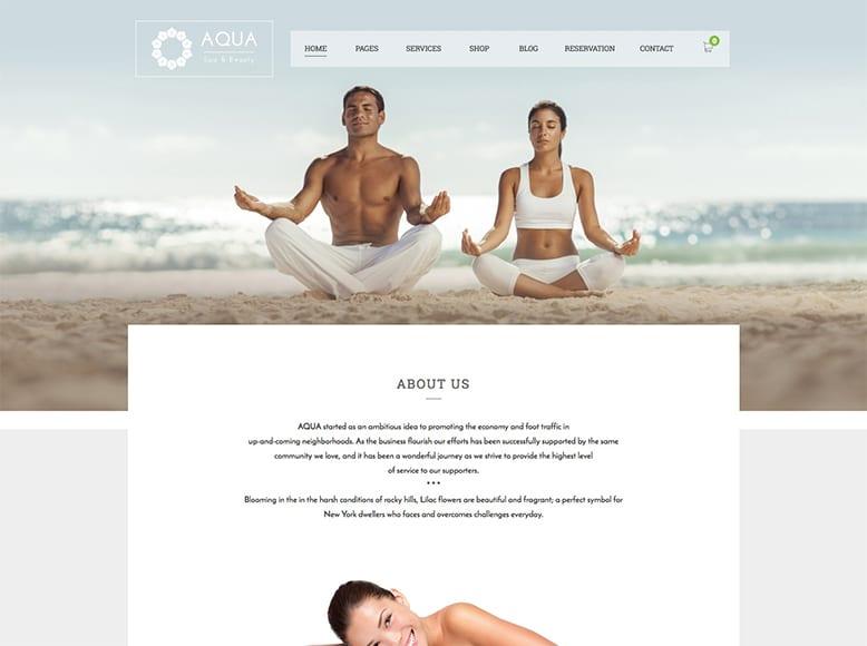 Aqua - Tema WordPress para centros de yoga, clases de pilates, profesores de yoga
