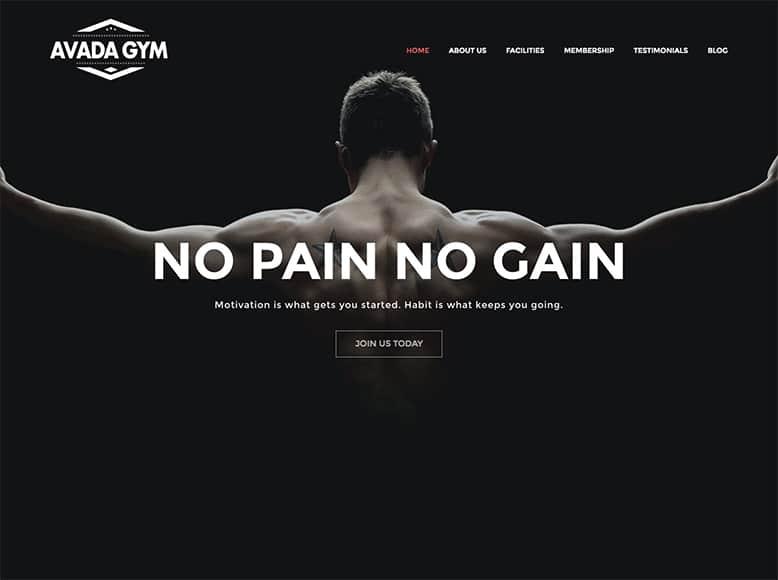 Avada - Plantilla WordPress para salas de fitness, centros deportivos y gimnasios