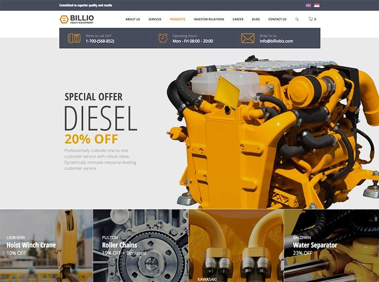 Billio - Plantilla WordPress para empresas de fabricación, equipamiento pesado y venta de recambios