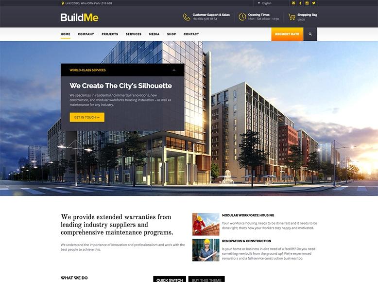 BuildMe - Plantilla WordPress para para empresas constructoras y de reformas, despachos de arquitectos