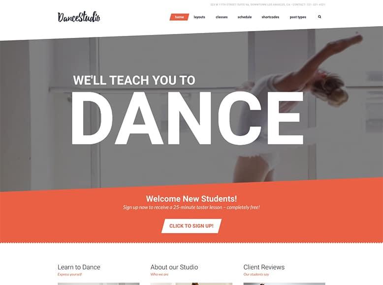 Dance Studio - Tema WordPress para escuelas de baile y danza