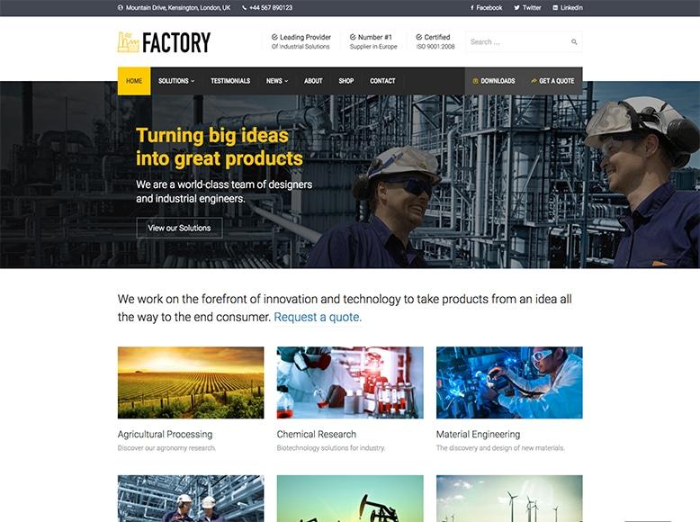Factory - Plantilla WordPress para factorías, fábricas y empresas industriales