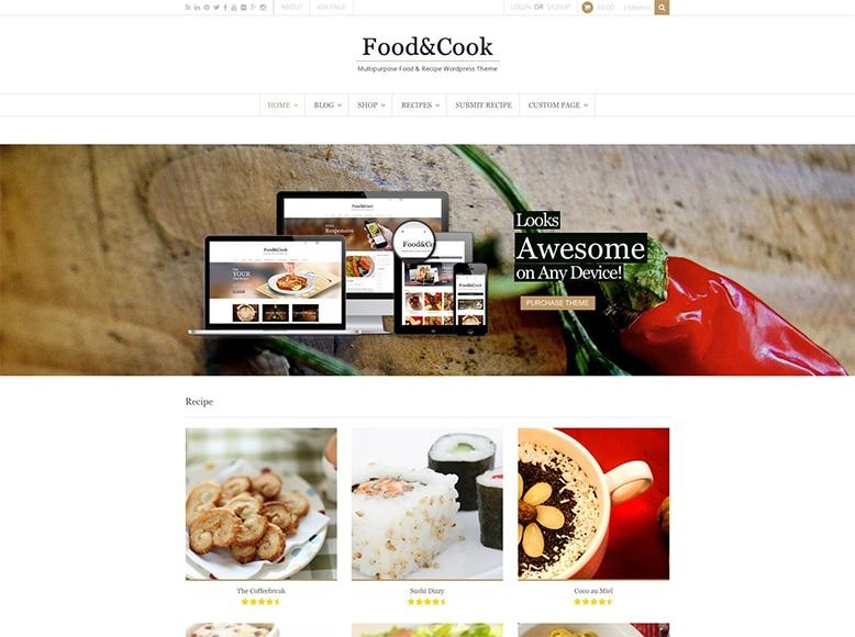 Food & Cook - Plantilla WordPress para compartir recetas y trucos de cocina