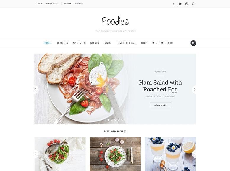 Foodica - Plantilla WordPress para blogs con recetas de cocina