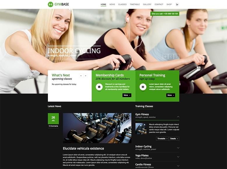 GymBase - Plantilla WordPress para gimnasios, centros deportivos, estudios de fitness